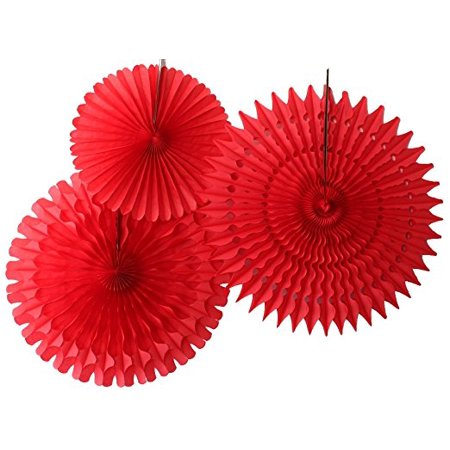 Hanging Red Tissue Fan Decorations, Set of 3 (21 inch, 18 inch, 13 inch) by Devra -