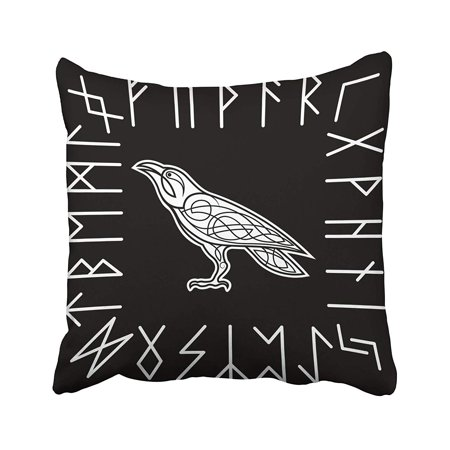 CMFUN Animals Raven Animals Bird Black Celtic Celtic Crow Celtic Pillow Case Pillow Cover 16x16 inch Throw Pillow Covers ()