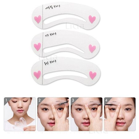 3 x Eyebrow Stencils Make Up Eyebrow Shaper Eye Brow Tool Eyebrow Template Stencils Pochoir Sourcil Guide Drawing Card (Eye Shaper)