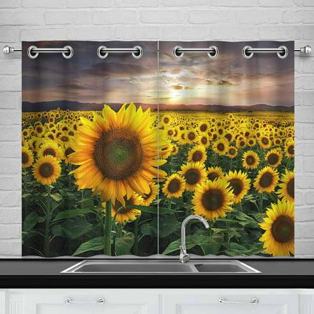 Sunset Window Windows (MKHERT Sunflowers Sunset Window Curtain Kitchen Curtain 26x39 inch,Two)