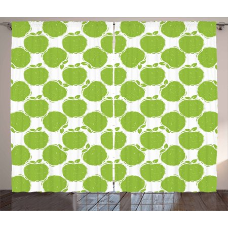 Apple Curtains 2 Panels Set, Abstract Sketch of Granny Smith Silhouettes Orchard Produce Fruitarian Diet, Window Drapes for Living Room Bedroom, 108W X 84L Inches, Apple Green White, by Ambesonne ()