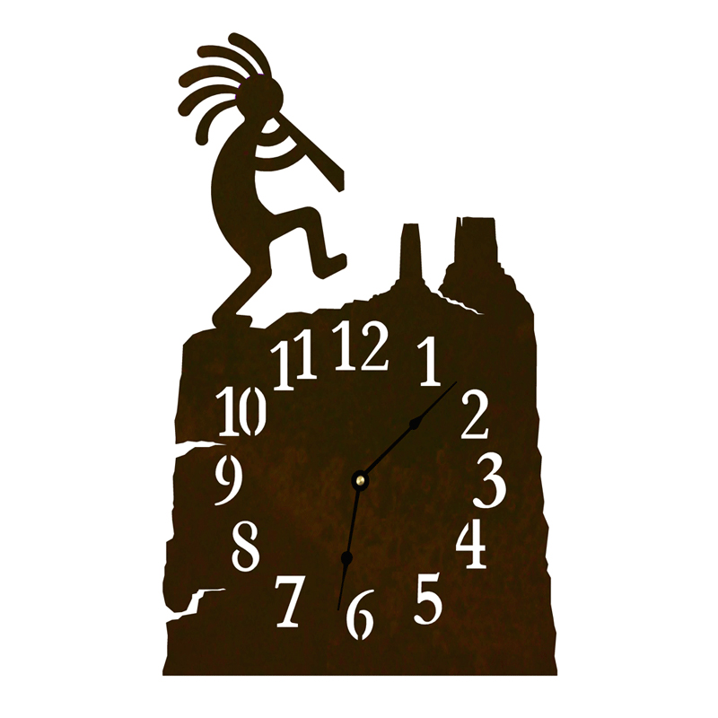Lone Star Western Decor Kokopelli Table Clock - Rust