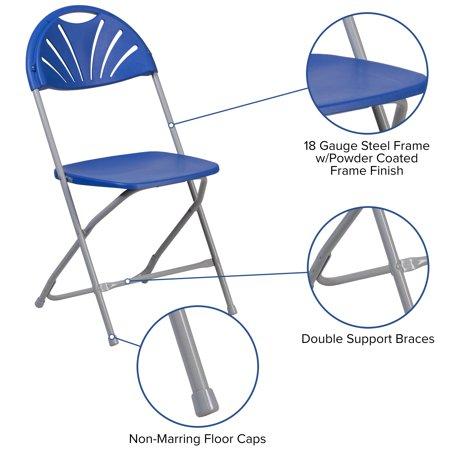 Flash Furniture HERCULES Series 650 lb. Capacity Blue Plastic Fan Back Folding Chair