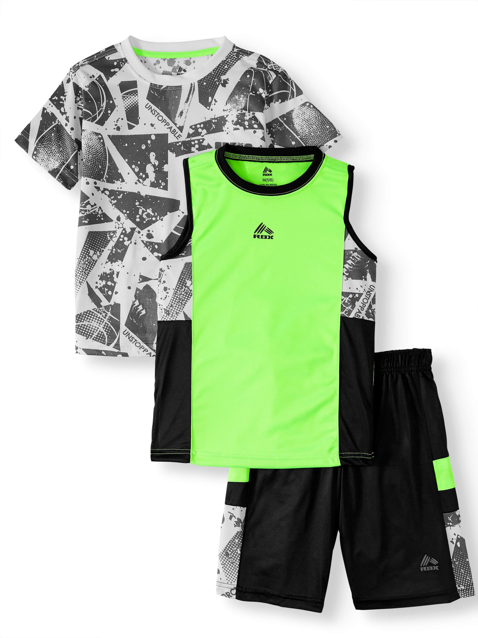 Pattern Tee, Muscle Tank, and Mesh Short, 3-Piece Outfit Set (Little Boys & Big Boys)