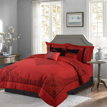 Venice Queen Comforter Set (Empire Home Dawn 7 Piece Comforter Set Over Sized Bed In A Bag Queen Size Red & Black NEW ARRIVAL 50% SALE )