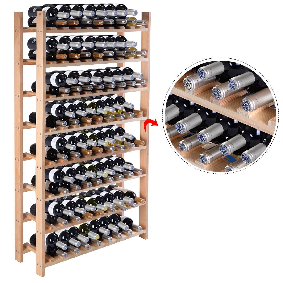 Costway Wood Wine Rack Stackable Storage Storage Display Shelves (120-Bottle) by Costway