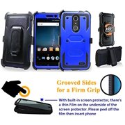 """for 5.5"""" ZTE Blade Spark ZMAX ONE Grand X4 case Phone Case 360° Cover Screen Protector Clip Holster Kick Stand Shock Bumper Blue"""