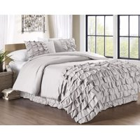 Chezmoi Collection Ella 3-Piece Ruffled Shabby Chic Waterfall Comforter Set