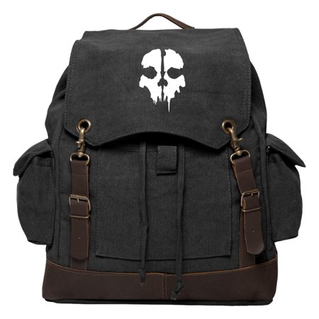Call of Duty Ghost Skull Logo Rucksack Backpack with Leather