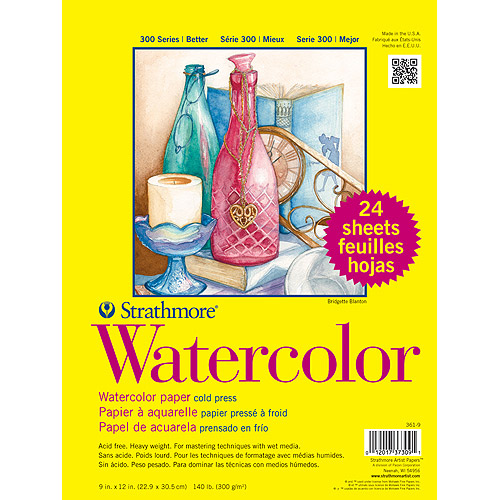 "Strathmore Watercolor Paper Classpack, 9"" x 12"", 140lb, Cold Press, 24 Sheets"