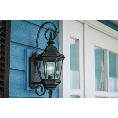 Kenroy Home 1 Light Classic European Outdoor Wall Sconce, Black Finish, 22 Inch Height, Clear Glass Panels, Edison Bulb Compatible, Easy Installation Classic Black 1 Light