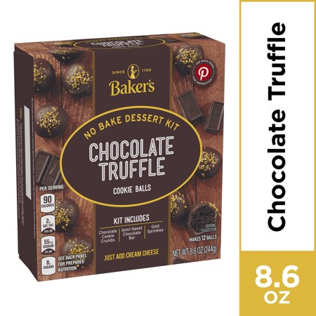 Cookie Dessert Baking Mix (Baker's Chocolate Truffle No Bake Cookie Balls Dessert Kit, 8.6 oz)