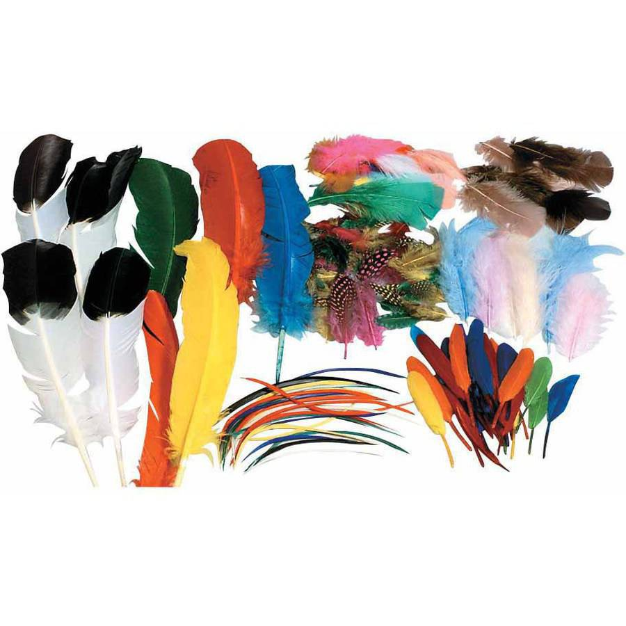 Chenille Kraft Assorted Shape Feather Classroom Pack, Assorted Size, Assorted Color