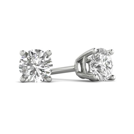 1.00 ct Round Brilliant Cut Simulated Diamond CZ Solitaire Stud Earrings in 14k White