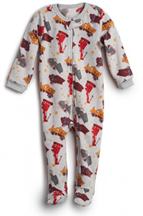 Elowel Baby Boys Footed Sand Truck Pajama Sleeper Fleece 18-24 Months