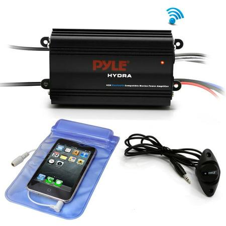 Pyle PLMRMB4CB - Bluetooth Marine Amplifier Kit, 4-Ch  Waterproof Audio  Power Amp System