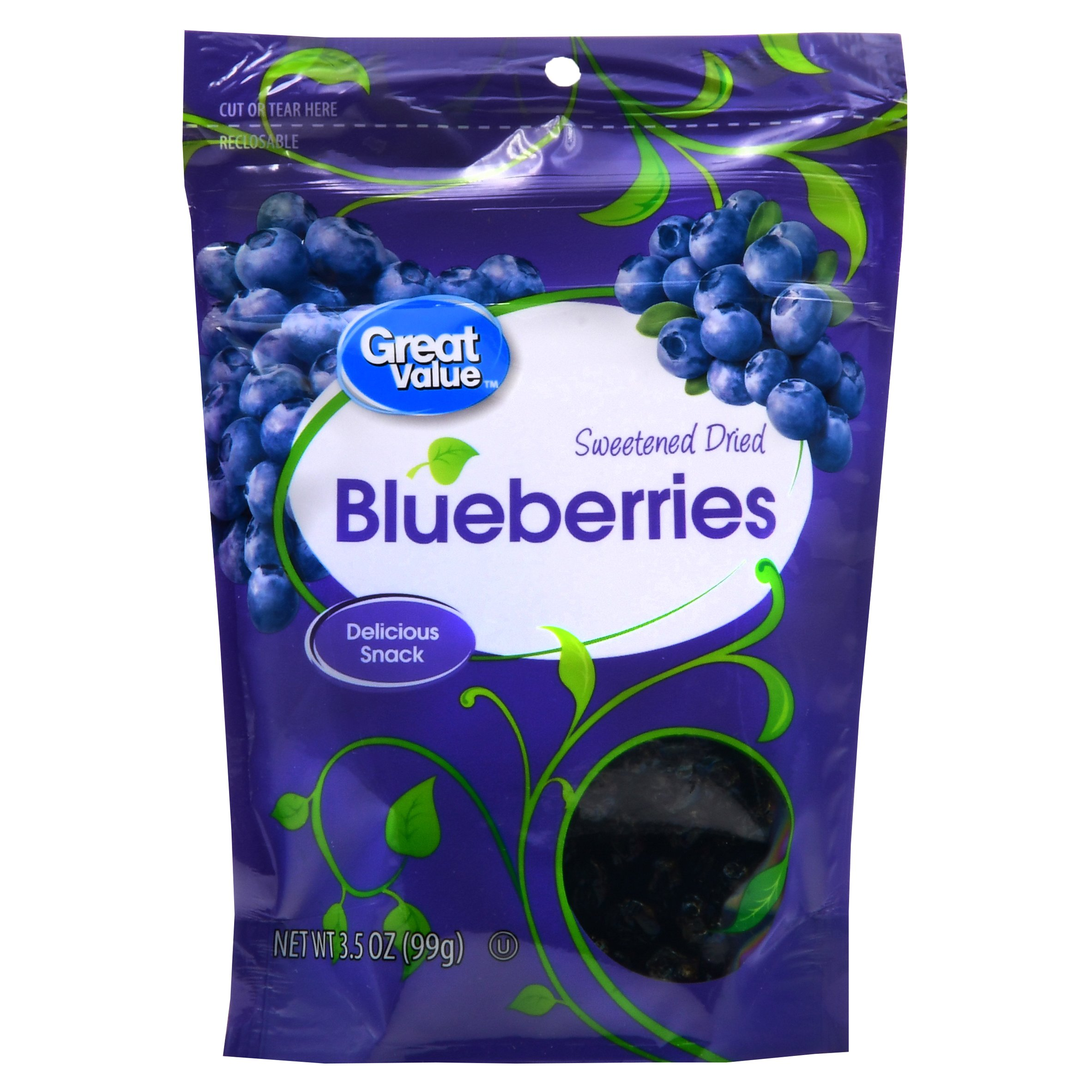 Great Value Sweetened Dried Blueberries 3.5 oz by Wal-Mart Stores, Inc.
