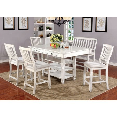 Furniture Of America Loretta 6 Piece French Country Weathered Counter Height Table Set