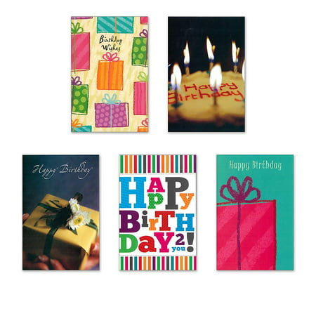 10 Birthday Cards with Envelopes - Boxed Enclosure Cards 5 Different Designs. Fantus Paper 5040-BD06