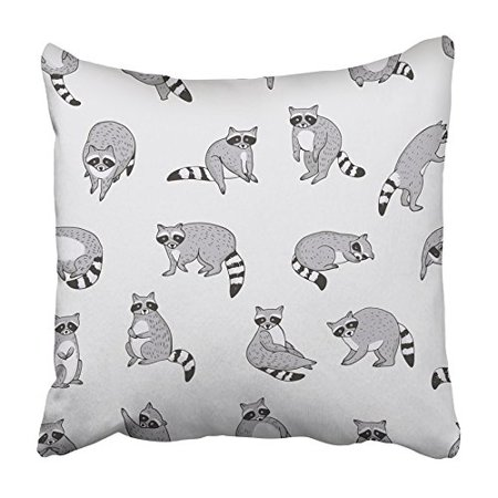 Raccoon Cartoon Animal - ARHOME Action Cute Raccoon Animal Doodle Pattern Adorable Baby Bandit Cartoon Child Pillowcase Cushion Cover 18x18 inch