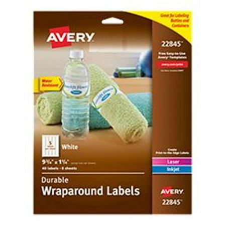 Avery-Dennison 22845 Durable Wraparound Printer Labels, White - 9.75 x 1.25