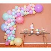 Pastel Balloon Garland Arch Kit by Sheryl Décor Easter Spring Rainbow Party Balloons Small and Large Balloons, Mint Green, Purple, Yellow, Pink and Blue Balloons, Unicorn Ballon Kits for Parties