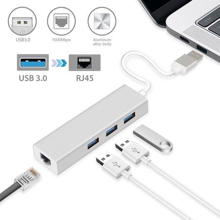 3 Ports USB 3.0 Gigabit Ethernet Lan RJ45 Network Adapter Hub to 1000Mbps, Support Windows XP, Vista, Win7/8 (32/64 bit), Mac OS 10.6 and Above, (Windows Xp 64 Bit Support End Date)