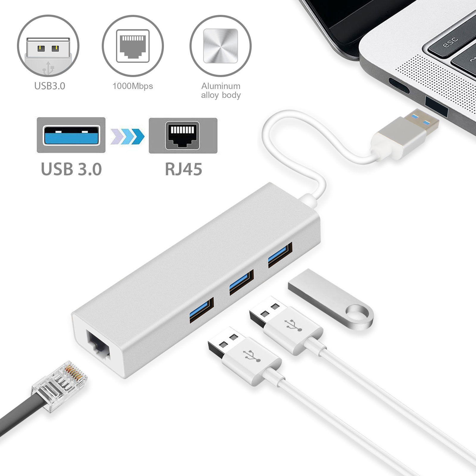 3 Ports USB 3.0 Gigabit Ethernet Lan RJ45 Network Adapter Hub to 1000Mbps for MacBook Air MacBook Pro iMac Microsoft Surface Pro ThinkPad Samsung Dell PC