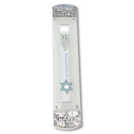 Metal Plastic Silver-Tone See through Mezuzah Case, 8