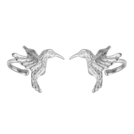 Sterling Silver Hummingbird Ear Cuff Earrings, 1 Pair, No piercing, Slide on