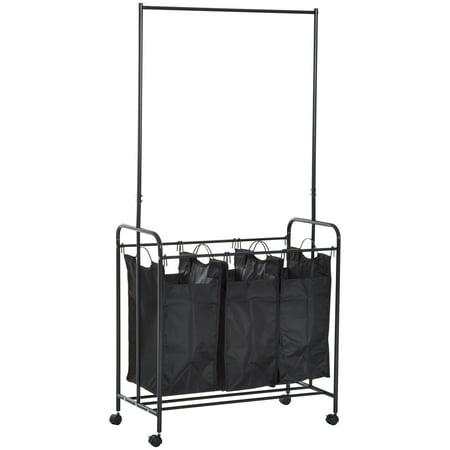 Homcom 3 Bag Heavy Duty Rolling Laundry Hamper Sorter Cart