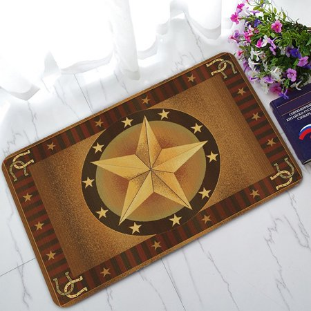 ZKGK Western Texas Star Non-Slip Doormat Indoor/Outdoor/Bathroom Doormat 30 x 18