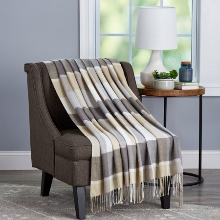 Super Soft Oversized Vintage Style Plaid Throw Blanket by Somerset Home (Stone Plaid) ()