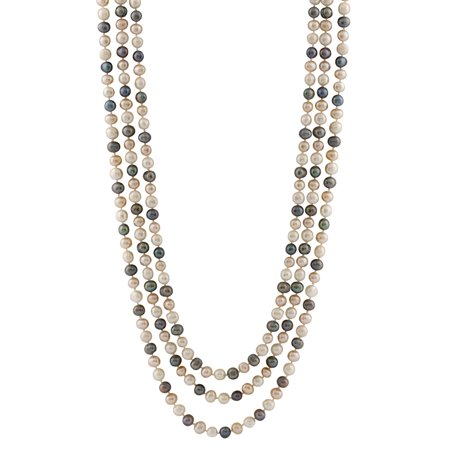 Handpicked A Quality 5.5-6mm Multicolor White Peach Dyed Black Freshwater Cultured Pearl Strand Endless 100