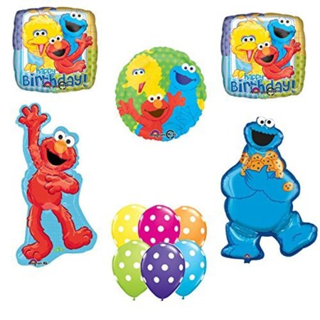 Sesame Street Elmo Cookie Monster Happy Birthday Party Balloons Decorations. - Cookie Monster Birthday Decorations