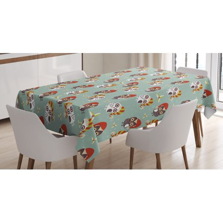 Mistle Toe Hat (Christmas Tablecloth, Cute Owls in Hats Ready for Xmas Party Mistletoe and Faded Snowflakes Yuletide, Rectangular Table Cover for Dining Room Kitchen, 60 X 84 Inches, Multicolor, by)