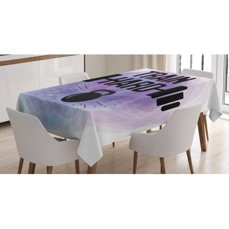 Fitness Tablecloth, Watercolors Style Train Hard Life Message Kettlebell and Barbell, Rectangular Table Cover for Dining Room Kitchen, 52 X 70 Inches, Lavender Light Blue Black, by Ambesonne