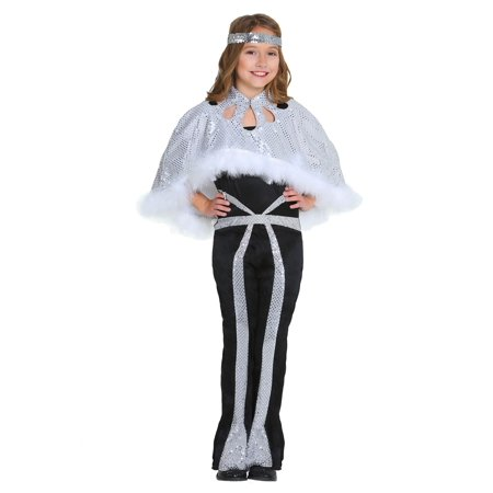 Dazzling Silver Disco Costume for Girls (Disco Costumes For Girls)