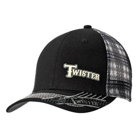 Twister 1512001 Mens Rubber Logo Plaid Mesh Back Cap, Black