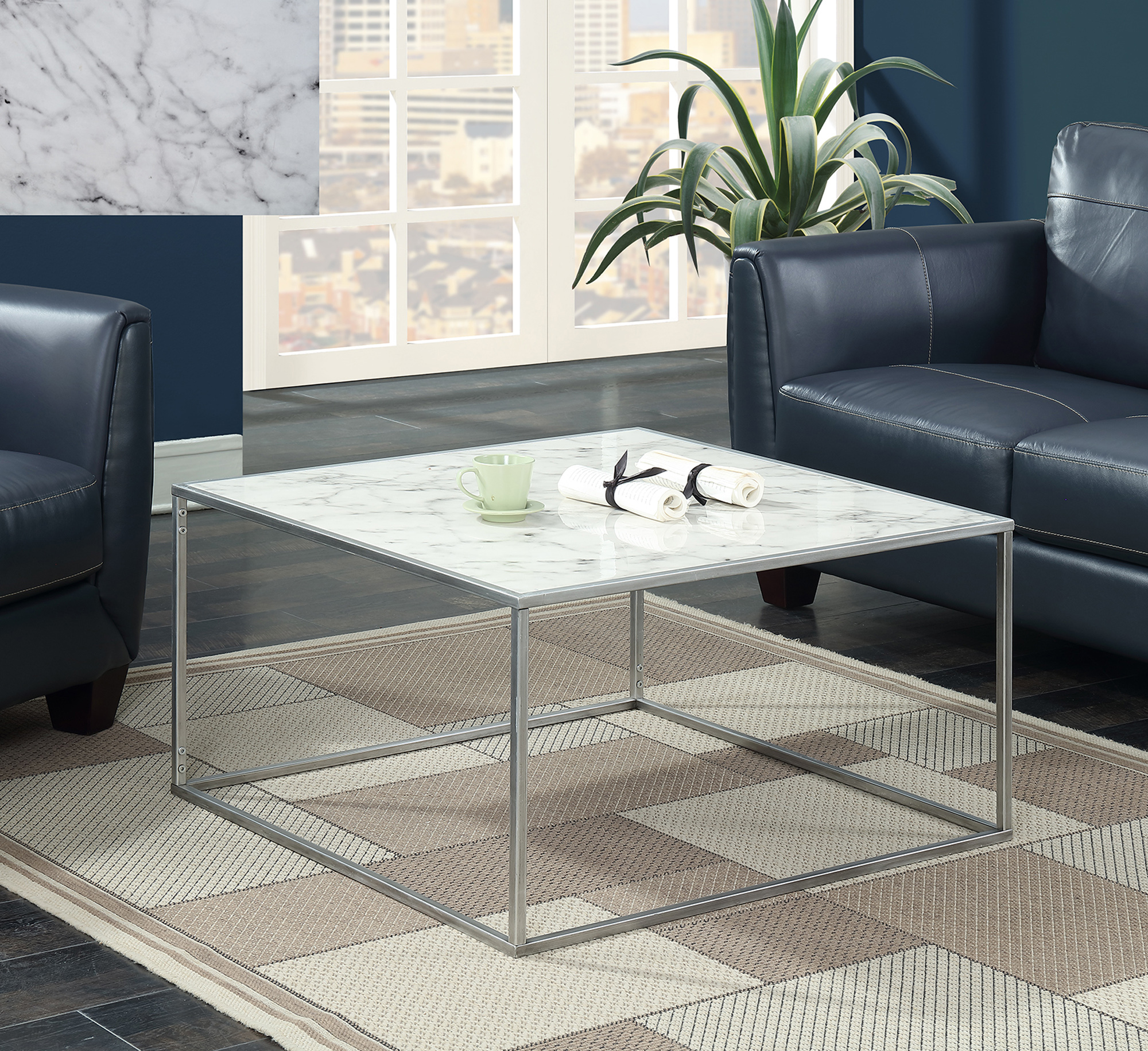 Convenience Concepts Gold Coast Faux Marble Coffee Table, Multiple Finishes