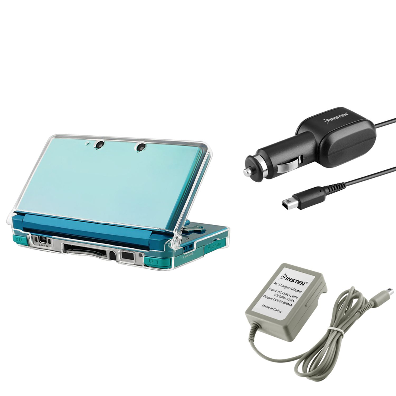 Nintendo 3DS Bundle - Clear Crystal Hard Case + Car Charger + Travel AC Wall Charger (3-in-1 Accessory Bundle) by Insten