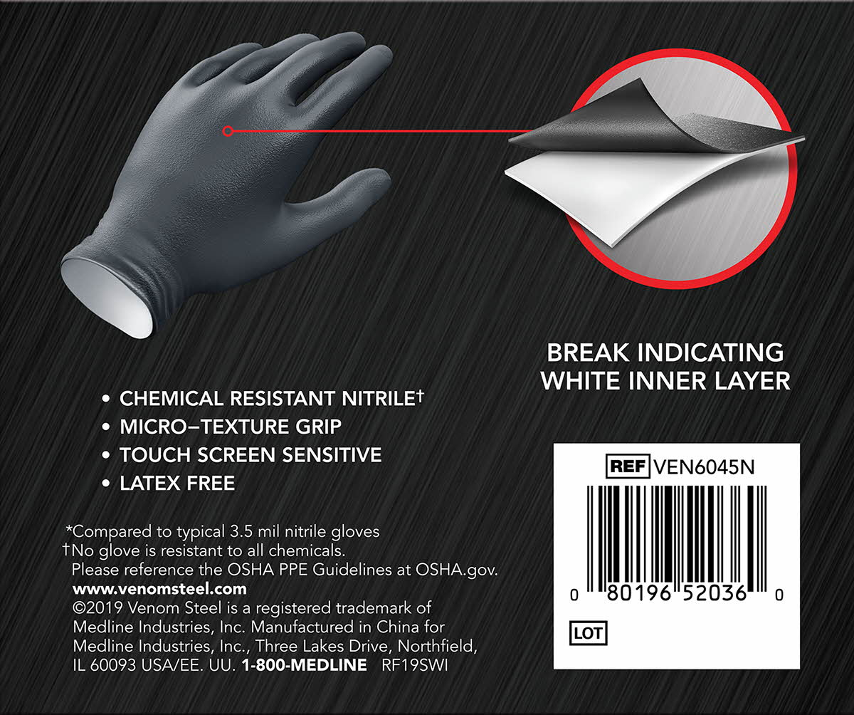 Latex//Powder-Free Venom Steel Chemical Resistant Nitrile Gloves S-M 100 Count