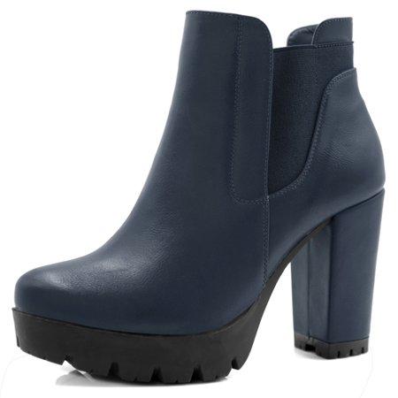Unique Bargains Women's Platform Chunky High Heel Chelsea