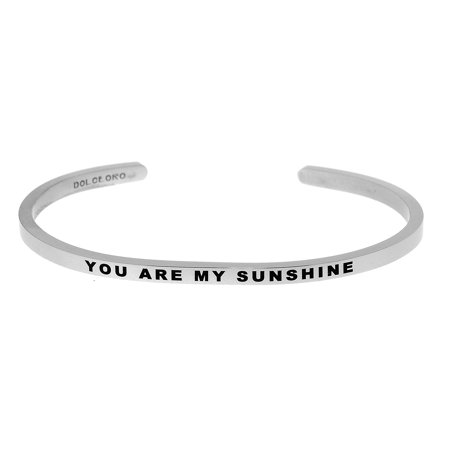 Dolceoro Inspirational Cuff Band  You Are My Sunshine  316L Stainless Steel  Select Your Mantra Phrase Or Make Your Own