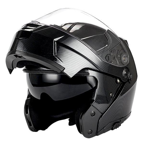 1Storm Motorcycle Modular Full Face Helmet Street Bike Flip up Dual Visor Sun Shield Racing; Carbon Fiber... by 1Storm