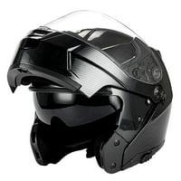 1Storm Motorcycle Modular Full Face Helmet Street Bike Flip up Dual Visor/Sun Shield Racing; Carbon Fiber Black HJA119