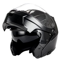 1Storm Motorcycle Modular Full Face Helmet Street Bike Flip up Dual Visor/Sun Shield Racing; Carbon Fiber Black HJA119