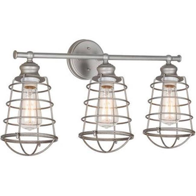 Design House 519728 Ajax 3-Light Bathroom Vanity Light, Galvanized Steel Finish