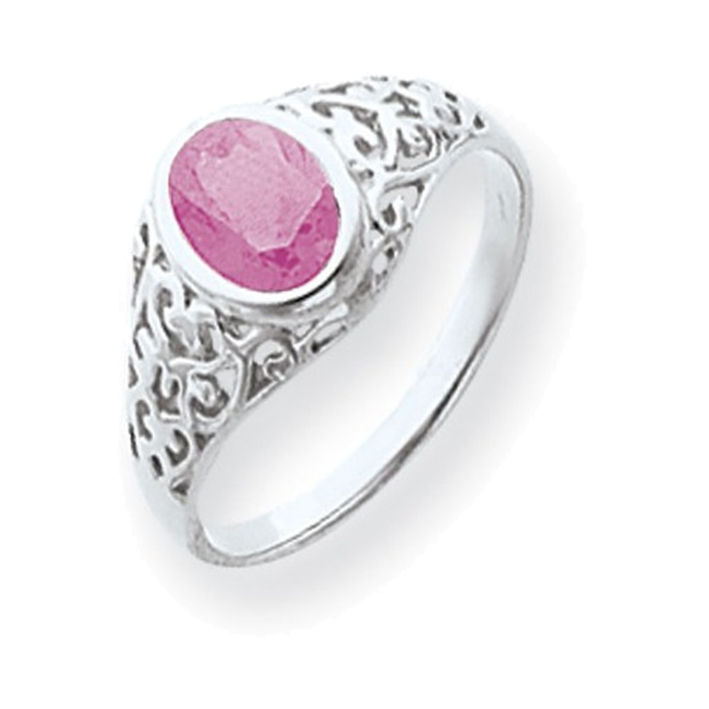 14k White Gold 7x5mm Oval Pink Tourmaline ring by