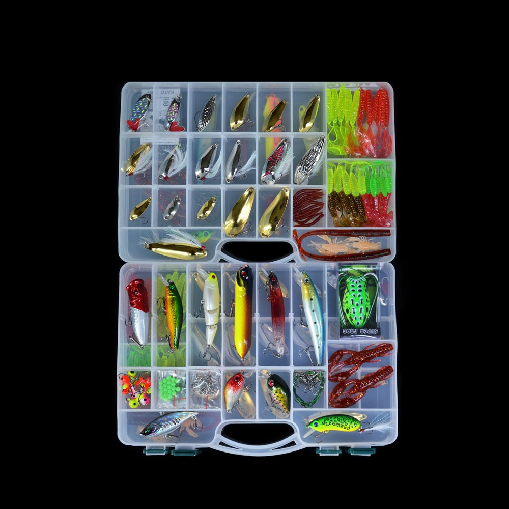 168Pcs Artificial Fishing Lure Set with Two-layer Fishing Tackle Box by